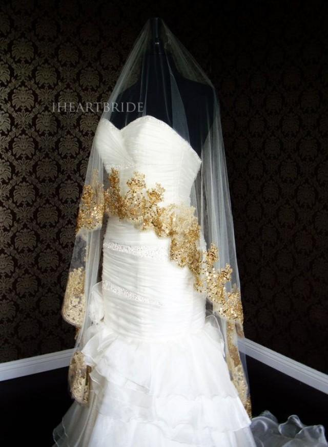 Luxury gold lace bridal veil beaded gold lace drop circle for Wedding dresses with gold beading