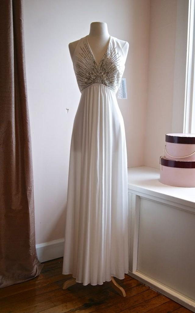 Vintage wedding gown 1970s beaded wedding dress by jack for 1970s vintage wedding dresses