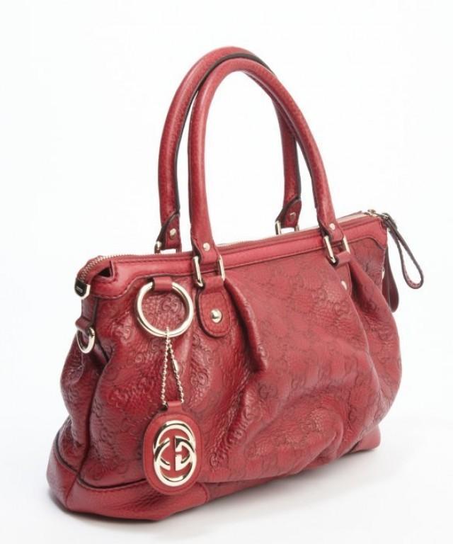 wedding photo - Original GUCCI Red Guccissima Leather Top Handle GG Tote Bag