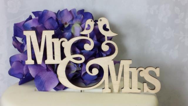 wedding photo - Love Bird Collection- Mr & Mrs Love Bird Wood Rustic Cake Topper Wedding Cake Topper Bird Cake Topper