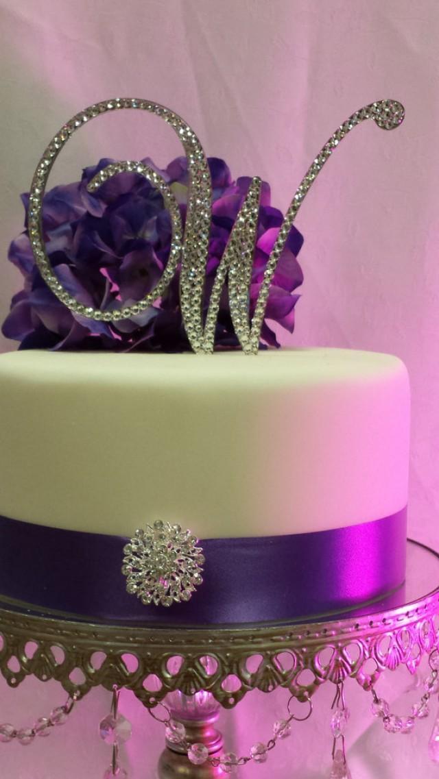 "wedding photo - 5"" Tall Mirror Initial Monogram Wedding Cake Topper Swarovski Crystal A B C D E F G H I J K L M N O P Q R S T U V W X Y Z"