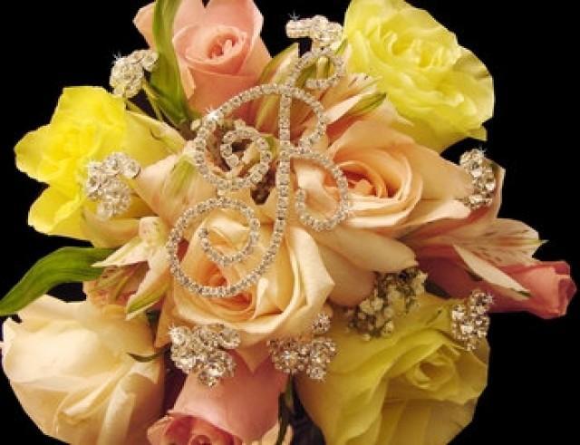 wedding photo - Single Crystal Bouquet Letter & 3 Bouquet Crystal Swirls (Set of 6 stems)