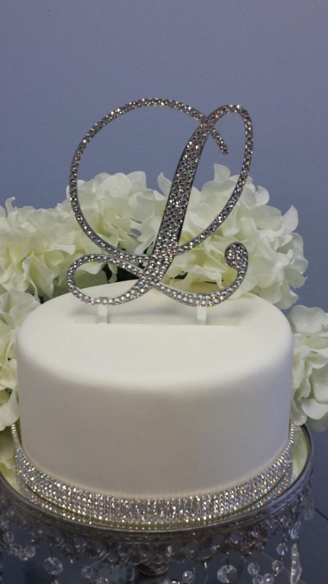 "wedding photo - 5"" Tall Gold Mirror Initial Monogram Wedding Cake Topper Swarovski Crystal A B C D E F G H I J K L M N O P Q R S T U V W X Y Z"