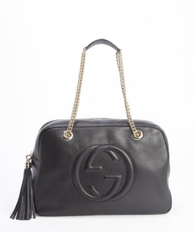 wedding photo - Original GUCCI Black GG Soho Hobo Leather Chain Straps Bag