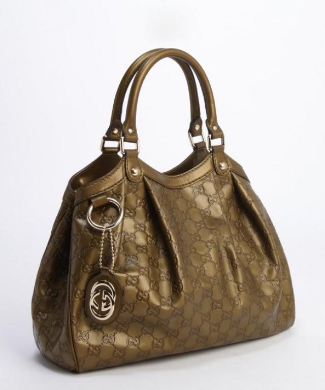 wedding photo - Original GUCCI GG Guccissima Leather Olive Flexible Strap Shoulder Bag