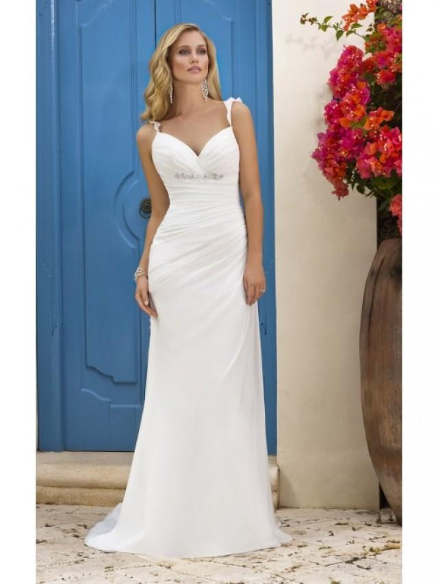 wedding photo - Sheath/Column Spaghetti Straps Chiffon Beading Wedding Dress