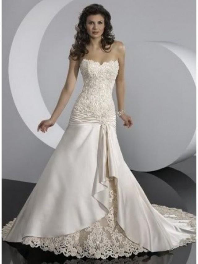 wedding photo - A-Line Strapless Beading Taffeta Wedding Dres