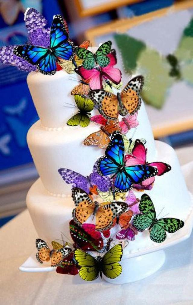 Butterfly cake decorations edible butterflies large for How to make edible cake decorations at home