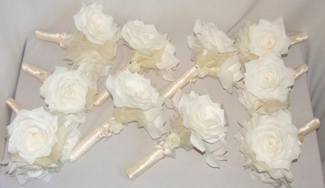 Wedding photo white bridal bouquets ivory wedding bouquet paper