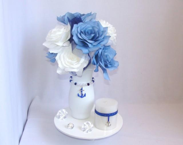 Anchor centerpiece navy blue wedding centerpiece Wedding shower centerpieces