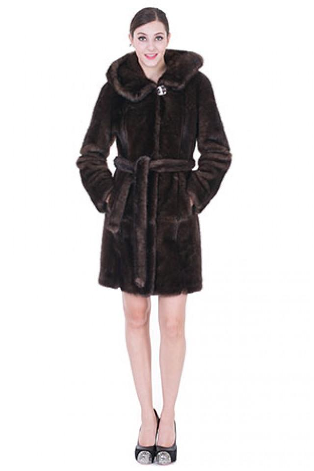 wedding photo - Faux dark brown mink fur middle women coat