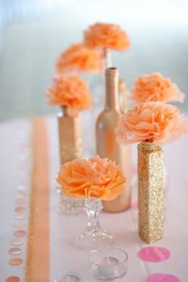 Weddings peach wedding decorations peach wedding for Orange centerpieces for tables