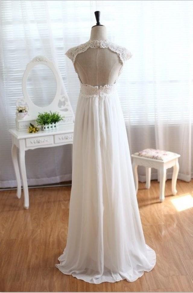 Vintage lace chiffon wedding dress keyhole empire waist for Empire lace wedding dress
