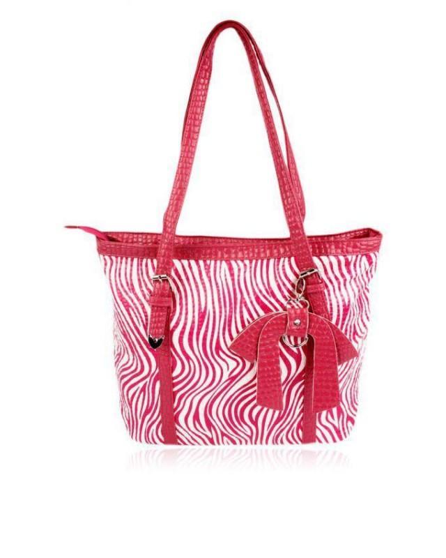 wedding photo - Zapprix Pink & White Zebra Design Women Tote Bag with Flexible Handles