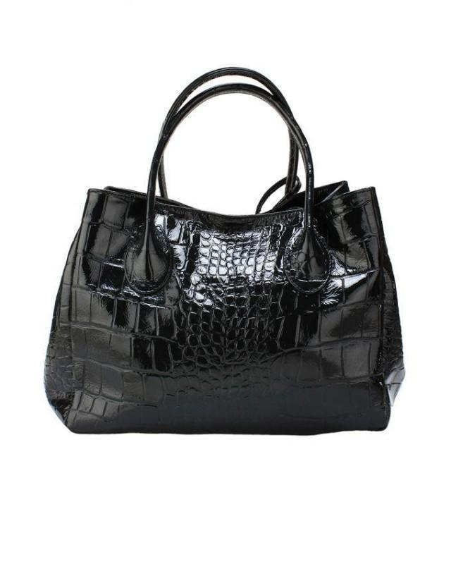 wedding photo - Zapprix Marble Black Crocodile Printed Shoulder Bag with Soft Handles
