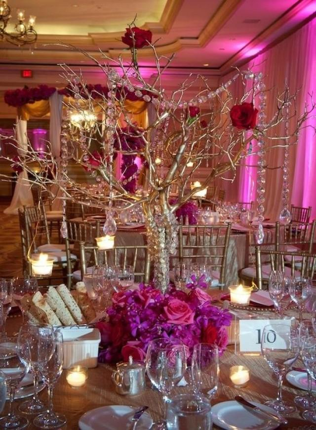 Wedding Reception Glamorous Centerpieces With Sparkly Dangling Crystals 2180918