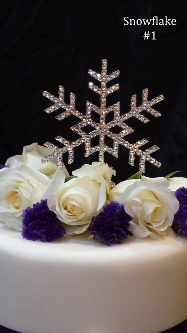 wedding photo - 5 Inch Snowflake Wedding Cake Topper with Swarovski Crystals Rhinestone Winter Wedding Winter Themed Event Frozen