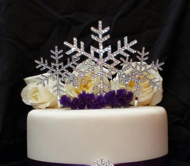 wedding photo - Triple Snowflake Swarvoski Crystal Cake Topper Winter Wedding Winter Themed Event