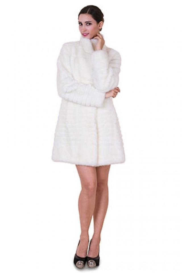 wedding photo - Faux white mink fur with transverse shear women middle coat