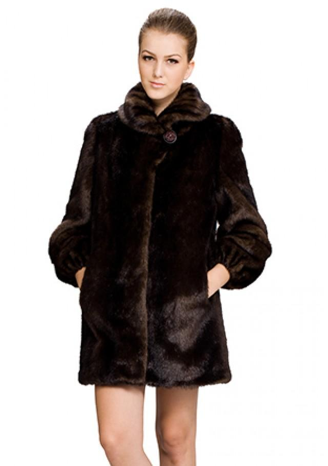 wedding photo - Faux dark brown mink fur with fold collar women middle coat