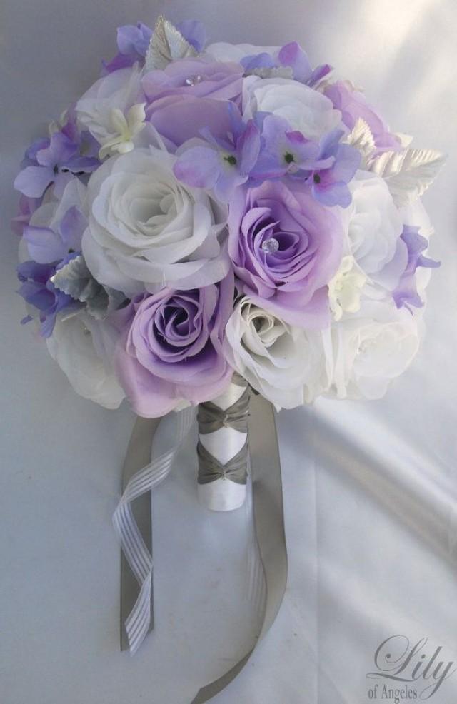 17 Pieces Package Silk Flower Wedding Decoration Bridal Bouquet WHITE