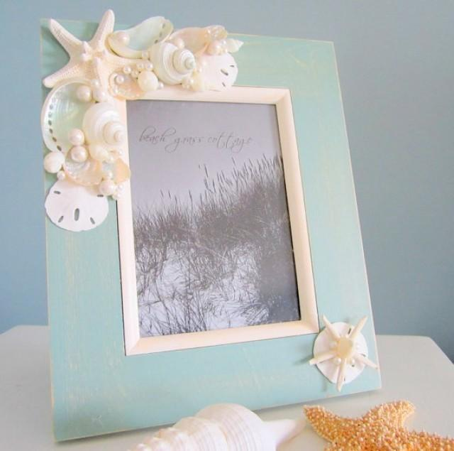 Beach seashell frame nautical decor shell stafish for Picture frame crafts for adults
