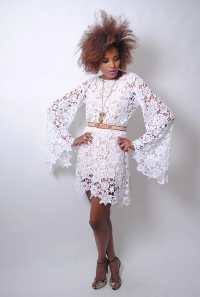 Bohemian hippie lace wedding dress white crochet lace for Wedding dress bell sleeves