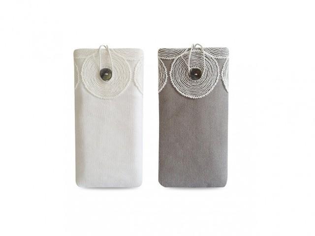 wedding photo - Handyhülle Canvas weiß & grau mit Spitze