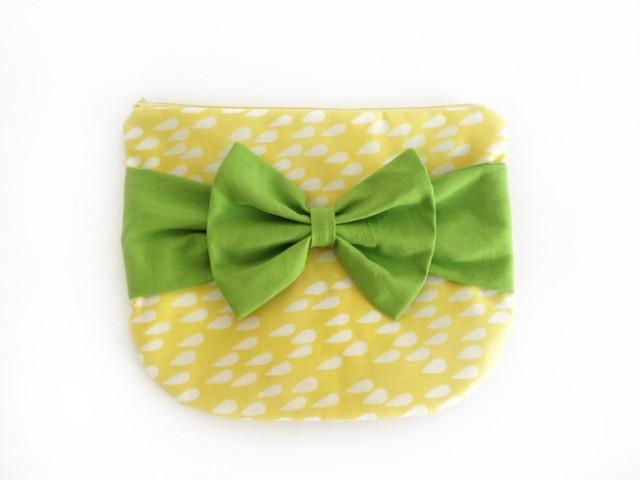wedding photo - Clutch, gelb mit grüner Schleife