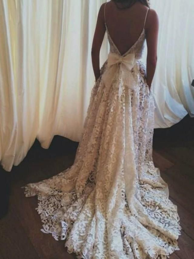 Lace wedding dress backless wedding dress boho wedding for Vintage lace wedding dress open back