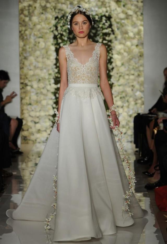 Reem acra featured sheer crop top wedding dresses and full for Crop top wedding dress