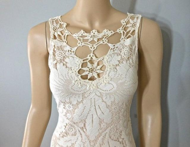 Vintage style bohemian wedding dress crochet ivory lace for Ivory vintage lace wedding dress
