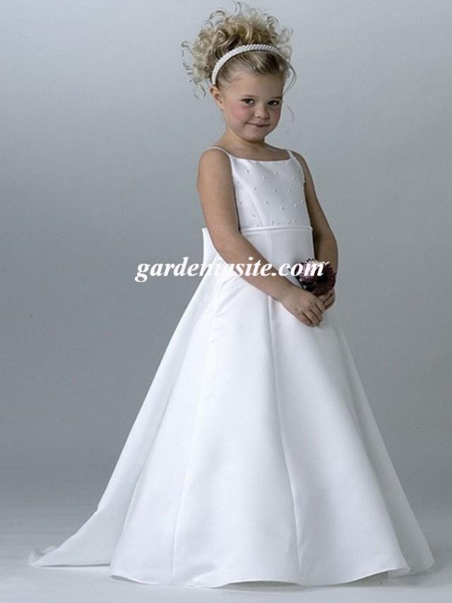 wedding photo - Spaghetti Straps Satin A-line Floor-length Dress