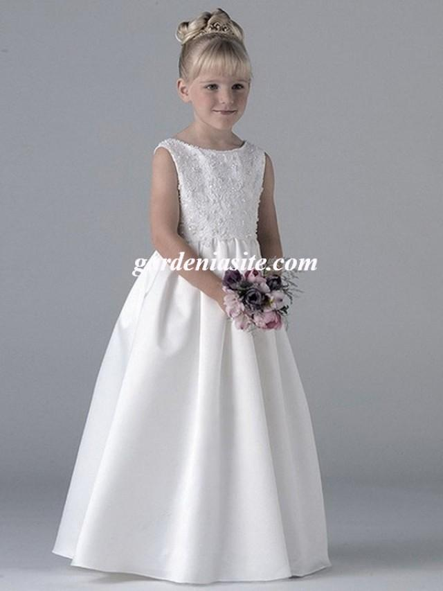 wedding photo - Bateau Satin A-line Floor-length Dress(AUSTWPFG0003)