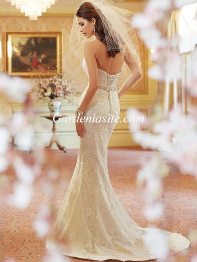 wedding photo - Mermaid/Trumpet Sweetheart Court Train Appliques Shiny Crystals Sashes/Ribbons Charmeuse Wedding Dress 2014