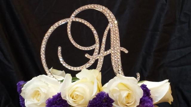 "wedding photo - 5"" Tall Swarovski Crystal Monogram Initial Cake Topper"
