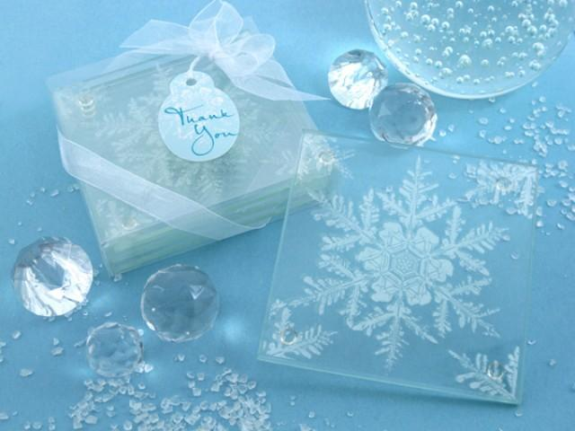 wedding photo - Frosted Snowflake Glass Coasters