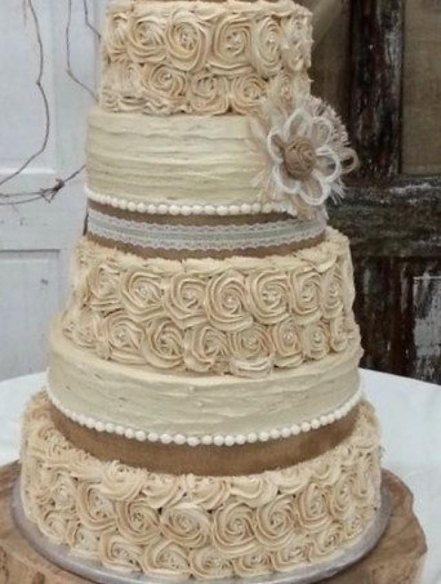 rustic wedding cake burlap flower farmhouse southern barn country