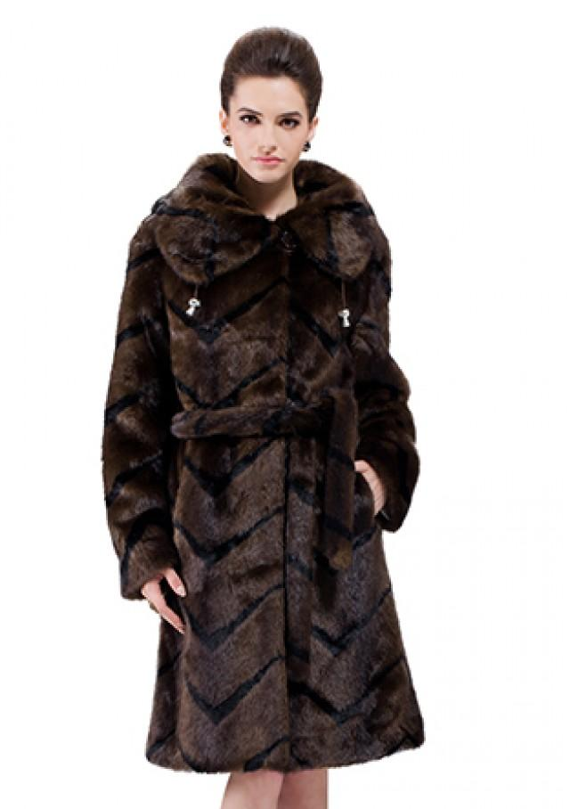 wedding photo - Faux dark coffee mink fur with black stripes women long coat