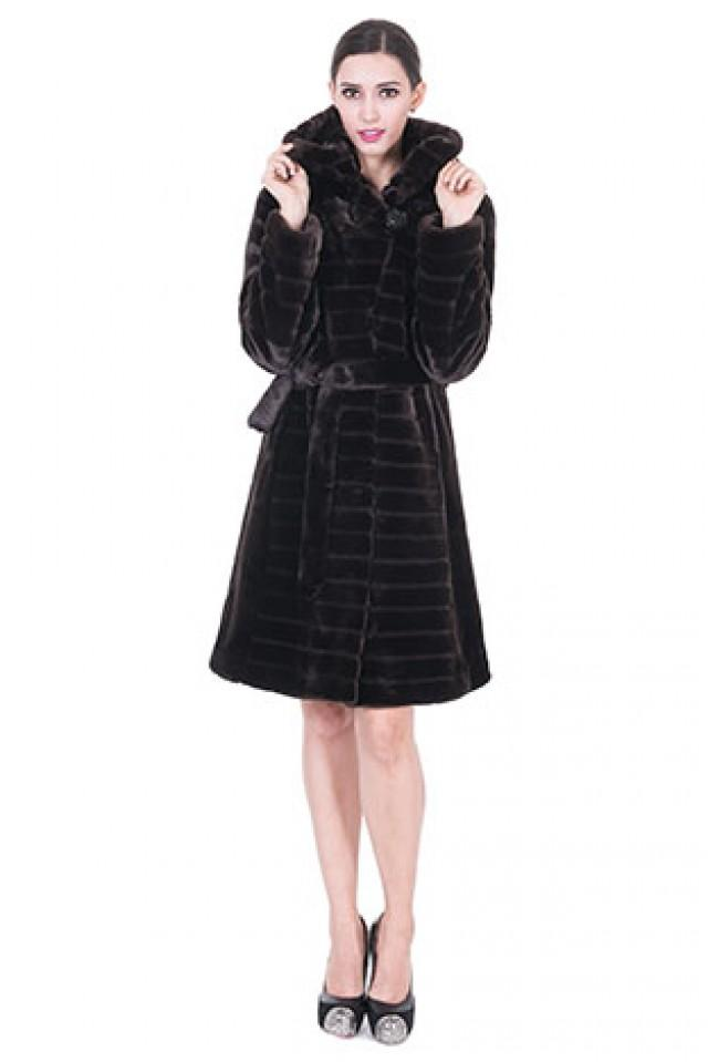 wedding photo - Faux strips dark coffee mink cashmere middle women coat