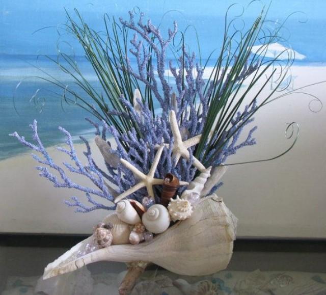 Nautical Decor Centerpieces: Seashell Coral Centerpiece-Beach Grass-Starfish-Driftwood