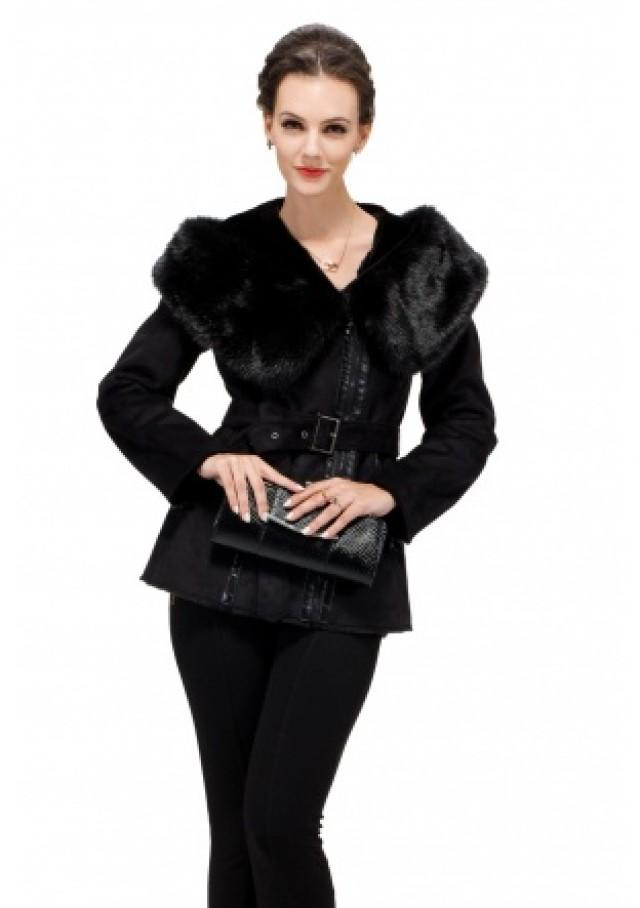 wedding photo - Black suede with faux beaver fur large collar and hat short suede coat