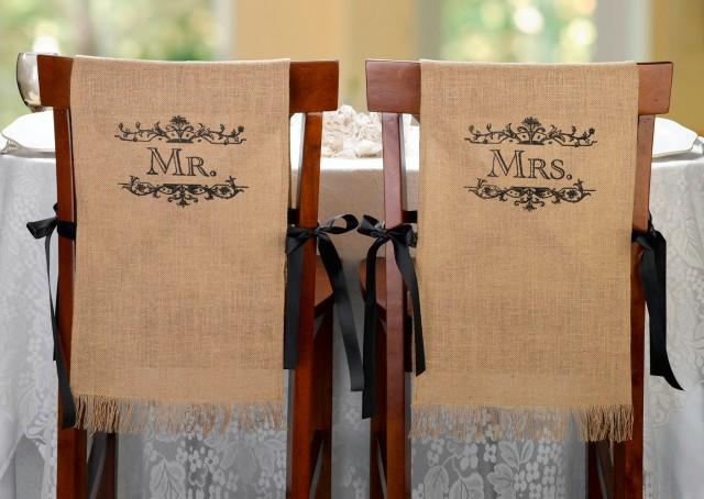 wedding photo - Mr. and Mrs. Burlap Chair Covers