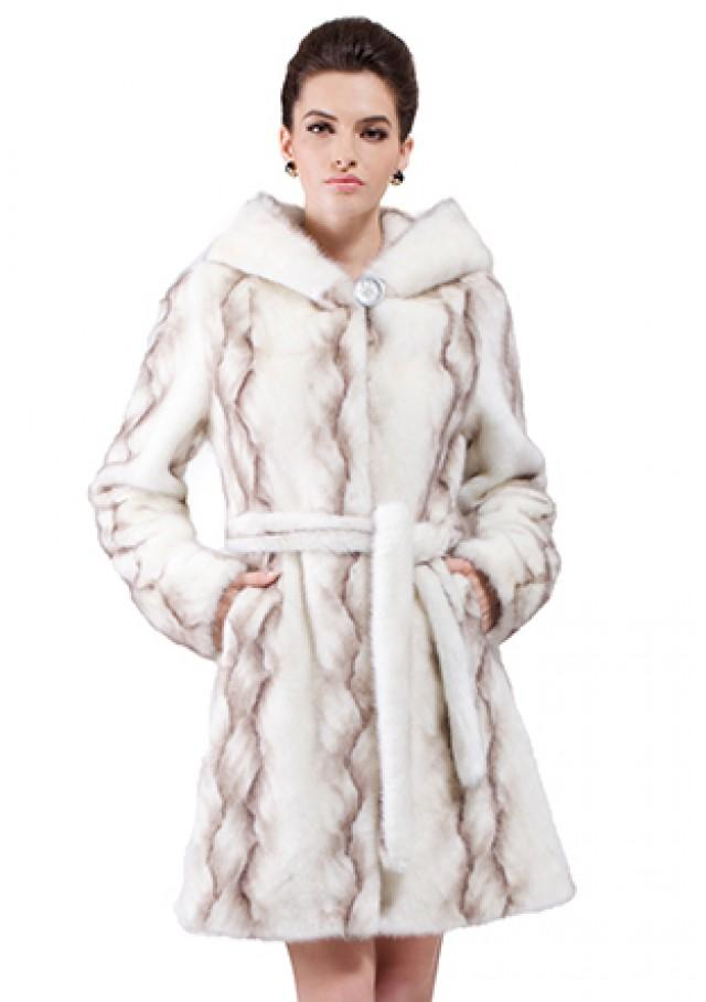 wedding photo - Faux white mink fur with gray twill middle fur coat