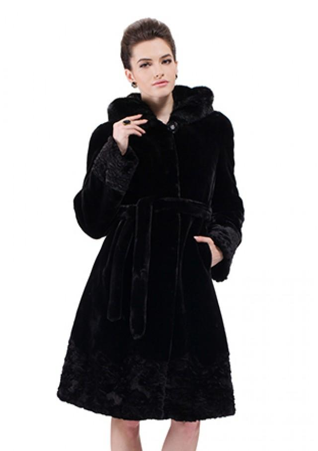wedding photo - Faux black mink cashmere with mink fur hat women long coat
