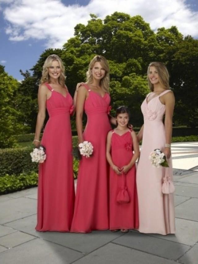 wedding photo - Hand-Made Flower Sleeveless Floor-length Chiffon Bridesmaid Dresses