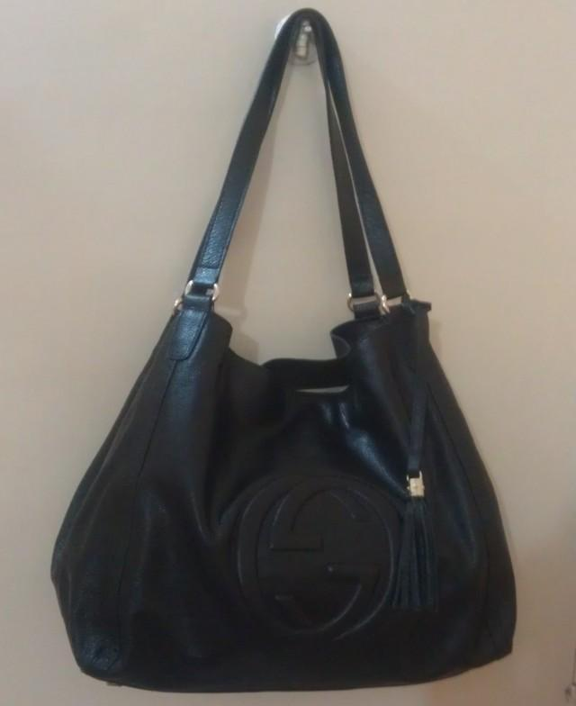 wedding photo - GUCCI Black Leather Soho Shoulder Bag