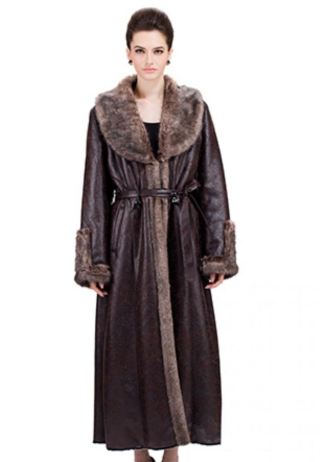 wedding photo - Chocolate suede with faux dark gray mink fur long suede coat