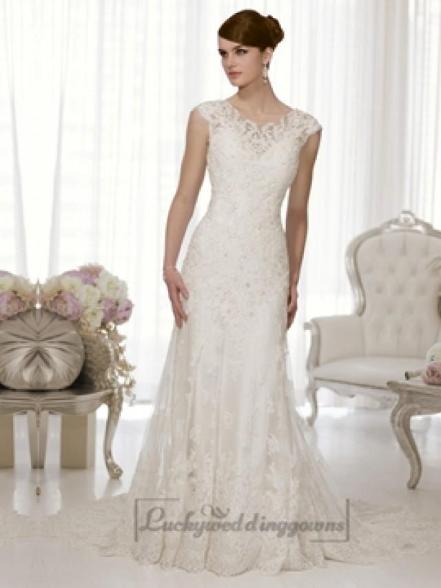 Sheath cap sleeves boat neckline low back wedding dresses for Sheath wedding dress with cap sleeves