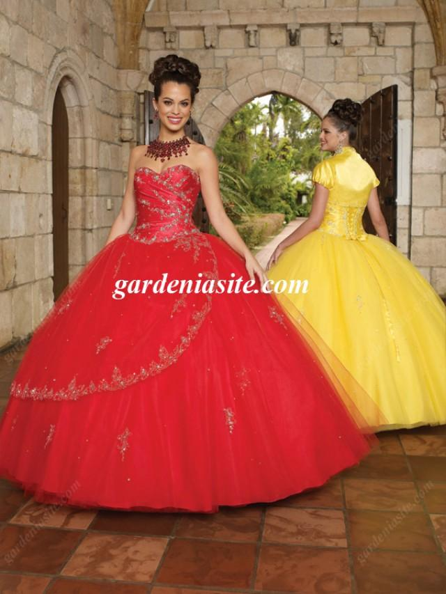 wedding photo - Ball Gown Sweetheart Tulle Floor-length Sleeveless Crystal Detailing Quinceanera Dresses